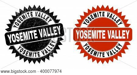 Black Rosette Yosemite Valley Seal. Flat Vector Scratched Stamp With Yosemite Valley Message Inside