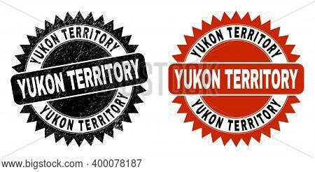 Black Rosette Yukon Territory Seal Stamp. Flat Vector Distress Watermark With Yukon Territory Messag