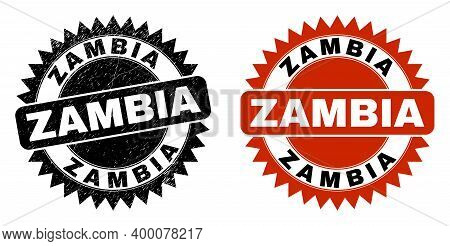 Black Rosette Zambia Stamp. Flat Vector Distress Seal Stamp With Zambia Message Inside Sharp Rosette