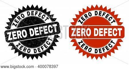 Black Rosette Zero Defect Seal Stamp. Flat Vector Textured Seal Stamp With Zero Defect Message Insid