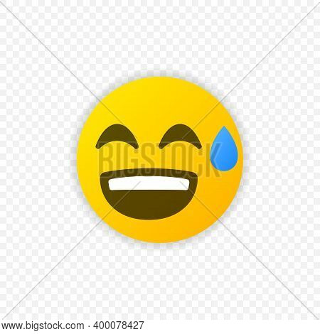 Smiling Emoticon With Open Mouth And Cold Sweat. Sweat Emoji Icon Isolated. Vector Eps 10