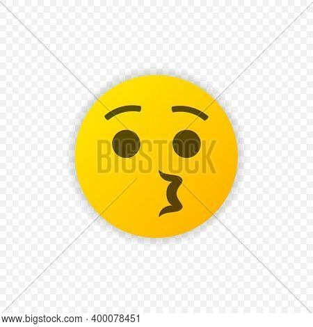 Whistling Emoticon Vector Icon Isolated. Whistling Emoji Symbol. Vector Eps 10