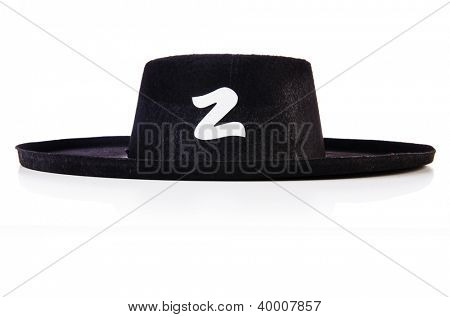 Black sombrero hat isolated on the white