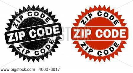 Black Rosette Zip Code Seal Stamp. Flat Vector Scratched Seal Stamp With Zip Code Text Inside Sharp