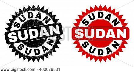 Black Rosette Sudan Seal Stamp. Flat Vector Textured Seal Stamp With Sudan Title Inside Sharp Rosett