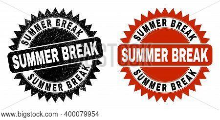 Black Rosette Summer Break Seal Stamp. Flat Vector Distress Seal Stamp With Summer Break Caption Ins