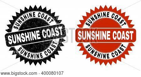 Black Rosette Sunshine Coast Seal Stamp. Flat Vector Distress Stamp With Sunshine Coast Title Inside