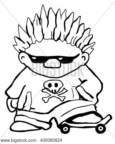 Skateboarder Cartoon Character Line Drawing, Vector, Vertical, Black And White