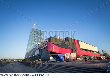 Belgrade, Serbia - December 6, 2020: Usce Shopping Center In New Belgrade (novi Beograd), Empty Dese
