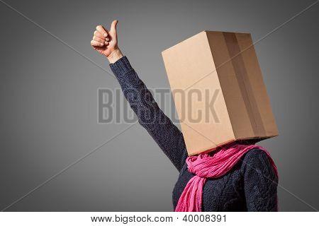 Girl with cardboard box head