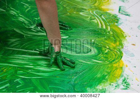 Young artist's hands