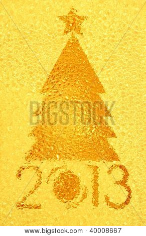 Christmas Tree Crystal Golden Background