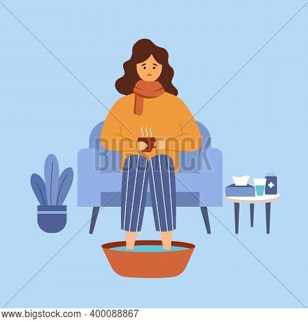 Woman With Flu Soaking Feet In Warm Water In Flat Design. Young Female Catch A Cold Or Flu Concept V