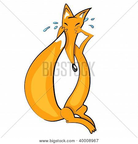 cartoon fox crying illustration.animal baby icon