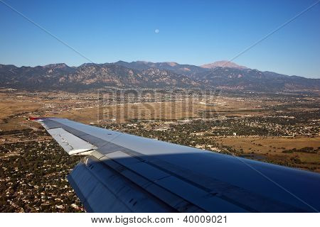Morning Moon Over Colorado Springs, Colorado