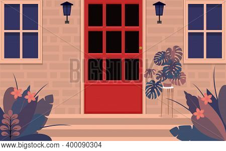 View Of Graden At Red Door On The Front Of House In Flat Design