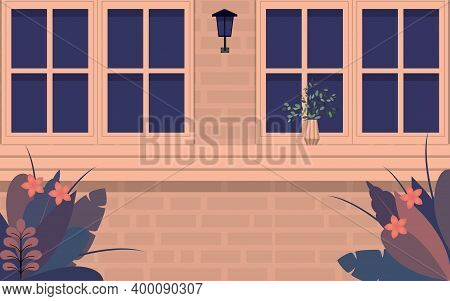 View Of Graden At Glass Windows On The House In Flat Design