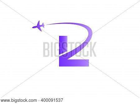 Air Travel Logo Design With L Letter. L Letter Concept Air Plane And Travel Logo.