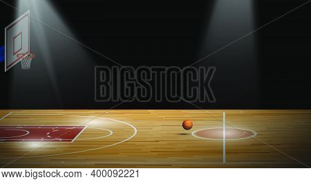 Bright Beam Illuminates Sports Basketball Court With Backboard, Hoop And Ball For Banner. Background