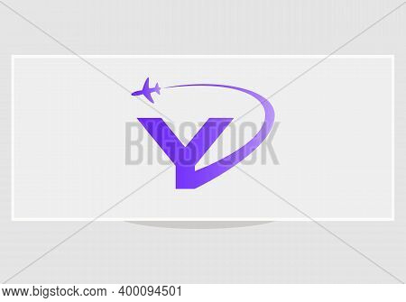 Air Travel Logo Design With Y Letter. Y Letter Concept Air Plane And Travel Logo.
