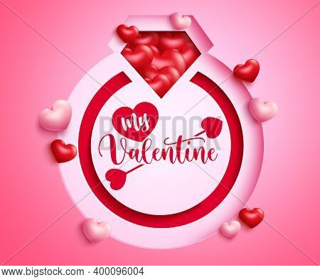 Valentine's Ring Vector Background Design. Happy Valentine's Day Greeting Text In Ring Paper Cut Sha