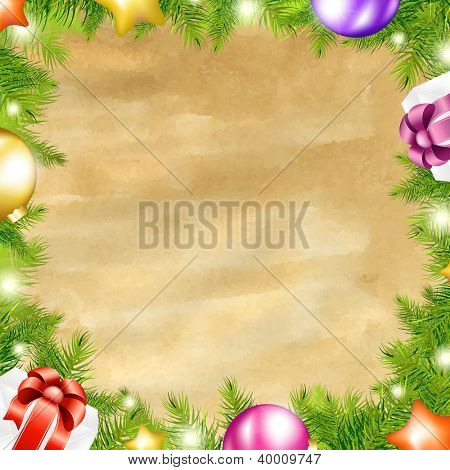Christmas Retro Background With Xmas Fir Tree Border With Gradient Mesh, Vector Illustration