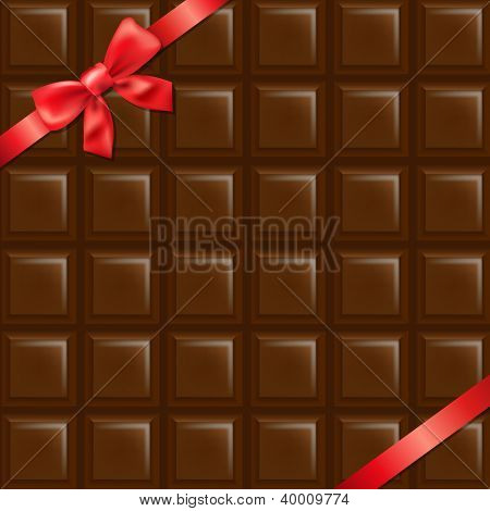 Chocolate Texture With Red Bow With Gradient Mesh, Vector Illustration