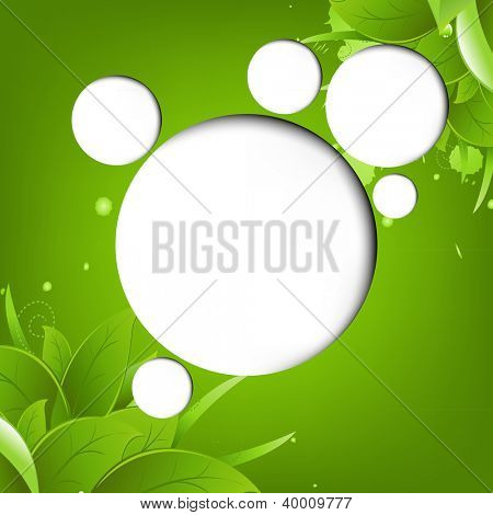 Green Eco Background With Web Speech Bubble With Gradient Mesh, Vector Illustration