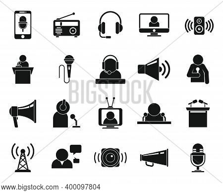 Announcer Icons Set. Simple Set Of Announcer Vector Icons For Web Design On White Background