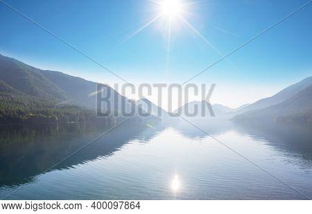 Serenity morning lake for fresh natural background