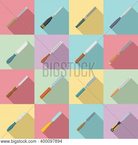 Chisel Icons Set. Flat Set Of Chisel Vector Icons For Web Design