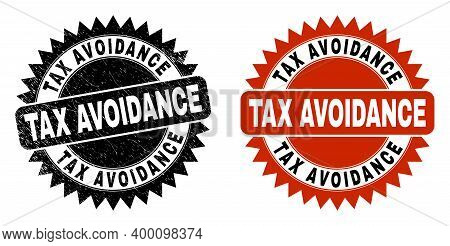Black Rosette Tax Avoidance Seal Stamp. Flat Vector Textured Stamp With Tax Avoidance Text Inside Sh