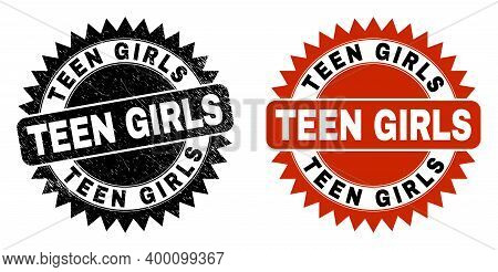 Black Rosette Teen Girls Stamp. Flat Vector Textured Seal Stamp With Teen Girls Caption Inside Sharp