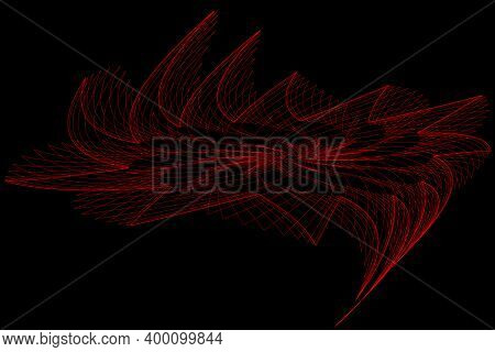 Images Of Abstract Elements, Red, On A Black Background That Create The Image Of A Shining Star That