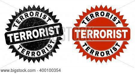 Black Rosette Terrorist Seal Stamp. Flat Vector Grunge Seal Stamp With Terrorist Phrase Inside Sharp
