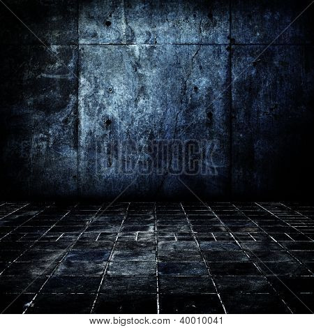 Dark and old concrete floor and wall.