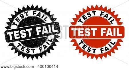 Black Rosette Test Fail Seal Stamp. Flat Vector Grunge Seal With Test Fail Phrase Inside Sharp Roset