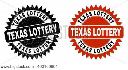 Black Rosette Texas Lottery Seal Stamp. Flat Vector Grunge Stamp With Texas Lottery Phrase Inside Sh