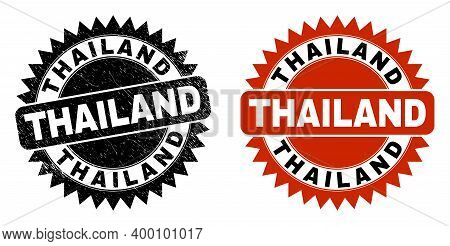 Black Rosette Thailand Watermark. Flat Vector Scratched Watermark With Thailand Caption Inside Sharp