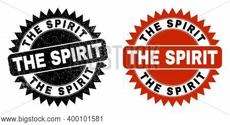 Black Rosette The Spirit Seal. Flat Vector Scratched Watermark With The Spirit Phrase Inside Sharp R