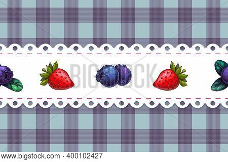 Seamless Chequered Background With Berries On White Lacy Doily, Country Style Textile Print. Strawbe
