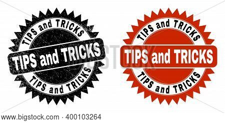 Black Rosette Tips And Tricks Watermark. Flat Vector Grunge Watermark With Tips And Tricks Phrase In
