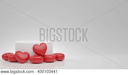 Valentine's Day Concept With Platform, Red Hearts Balloons. Stand, Podium, Pedestal For Goods 3d Ren