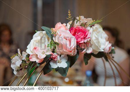 Engagement Flowers Basket . The Handle Of The Engagement Basket . There Are Candies In The Basket De