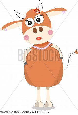 Orange-colored Bull-girl, She Stands With Her Head Bent To The Left. She Wears Jewelry - A Flower On