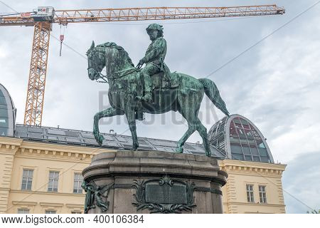 Vienna, Austria - August 30, 2020: Equestrian Monument To Franz Joseph I At Cloudy Day.