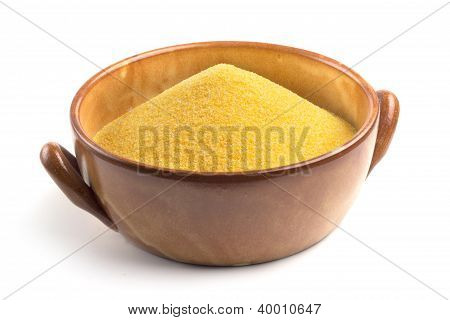 cornmeal in bowl isolated on white background