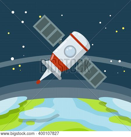 Satellite In Earth Orbit. Planet In Space. Communication And Digital Waves. Spacecraft And Flat Spac