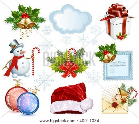 Big collection of Christmas objects. Rasterized version of vector illustration  ID: 84096865
