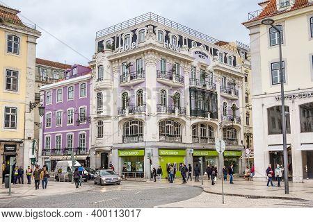 Lisbon, Portugal - March 02, 2016: Facade Of International Design Hotel In The City Center Of Lisbon